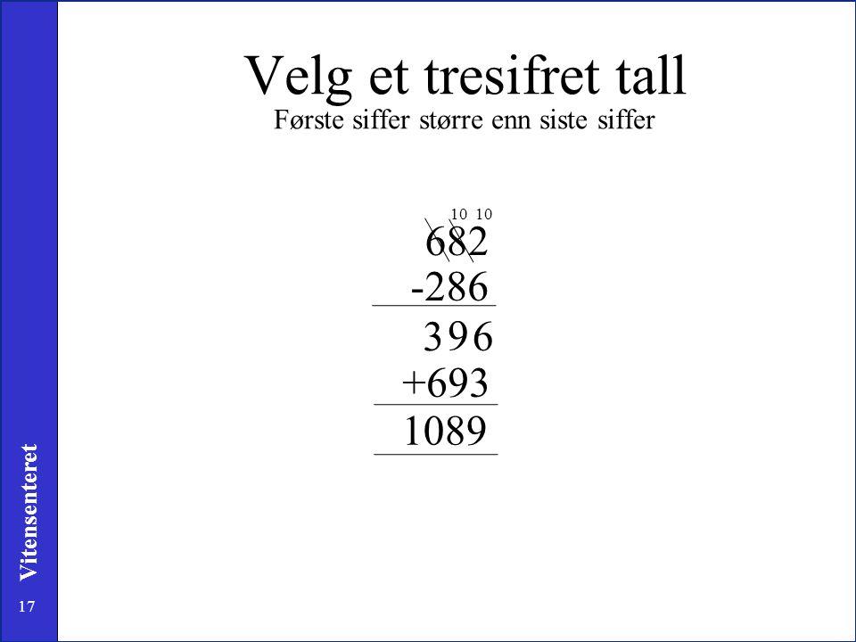 17 Vitensenteret Velg et tresifret tall Første siffer større enn siste siffer 682 -286 6 10 +693 1089 9 3
