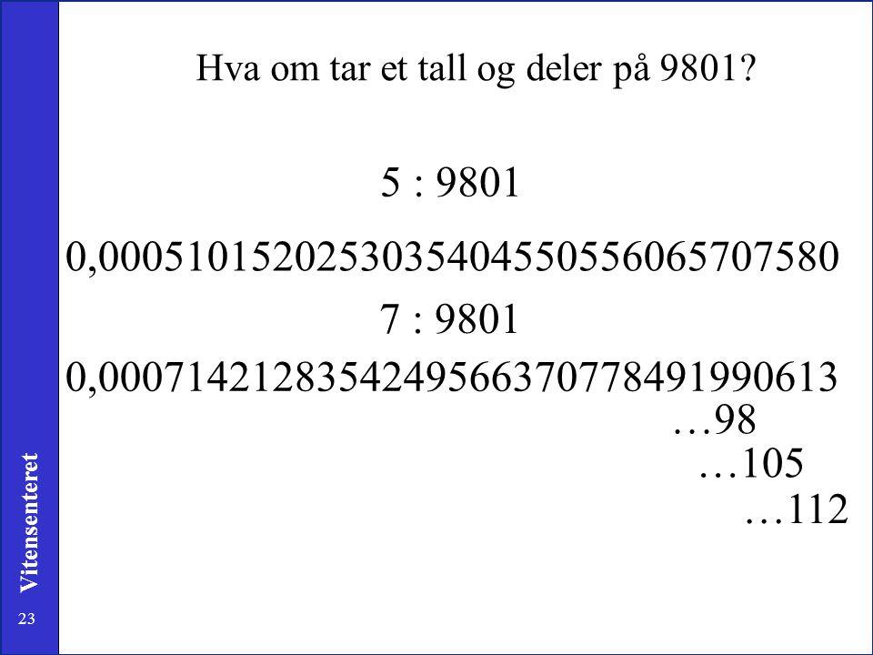 23 Vitensenteret 5 : 9801 0,0005101520253035404550556065707580 7 : 9801 0,0007142128354249566370778491990613 …98 …105 …112 Hva om tar et tall og deler