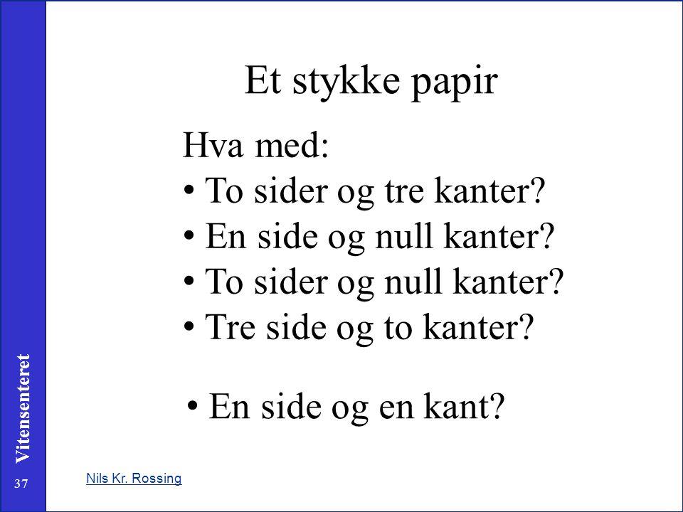 37 Vitensenteret Nils Kr. Rossing Et stykke papir Hva med: • To sider og tre kanter? • En side og null kanter? • To sider og null kanter? • Tre side o