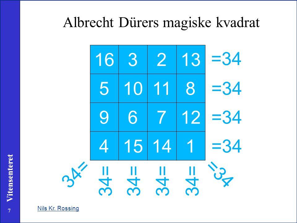 7 Vitensenteret Nils Kr. Rossing Albrecht Dürers magiske kvadrat 163213 510118 96712 415141 =34 34= =34 34=