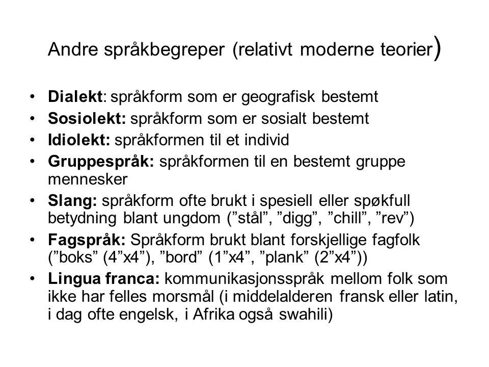 Andre språkbegreper (relativt moderne teorier ) •Dialekt: språkform som er geografisk bestemt •Sosiolekt: språkform som er sosialt bestemt •Idiolekt: språkformen til et individ •Gruppespråk: språkformen til en bestemt gruppe mennesker •Slang: språkform ofte brukt i spesiell eller spøkfull betydning blant ungdom ( stål , digg , chill , rev ) •Fagspråk: Språkform brukt blant forskjellige fagfolk ( boks (4 x4 ), bord (1 x4 , plank (2 x4 )) •Lingua franca: kommunikasjonsspråk mellom folk som ikke har felles morsmål (i middelalderen fransk eller latin, i dag ofte engelsk, i Afrika også swahili)