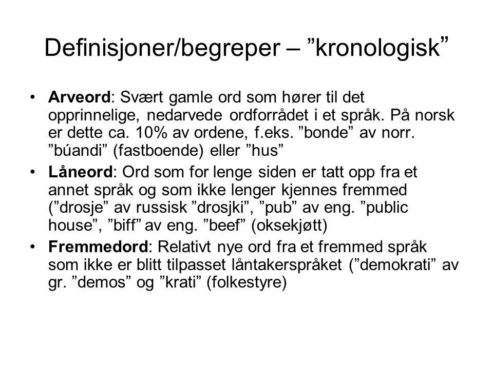 "Definisjoner/begreper – ""kronologisk "" •Arveord: Svært gamle ord som hører til det opprinnelige, nedarvede ordforrådet i et språk. På norsk er dette c"