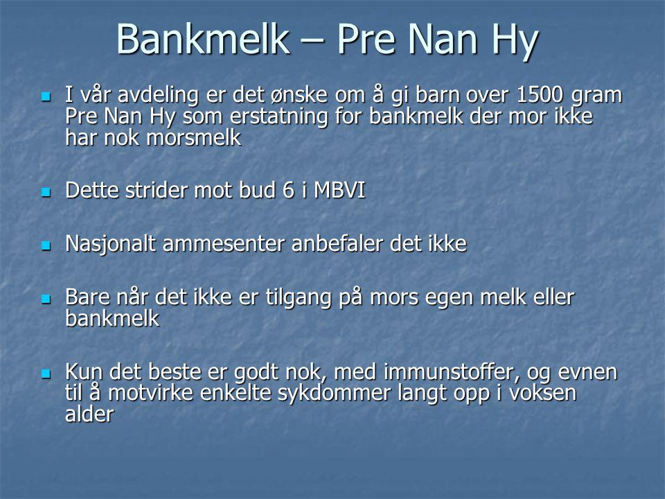  I vår avdeling er det ønske om å gi barn over 1500 gram Pre Nan Hy som erstatning for bankmelk der mor ikke har nok morsmelk  Dette strider mot bud