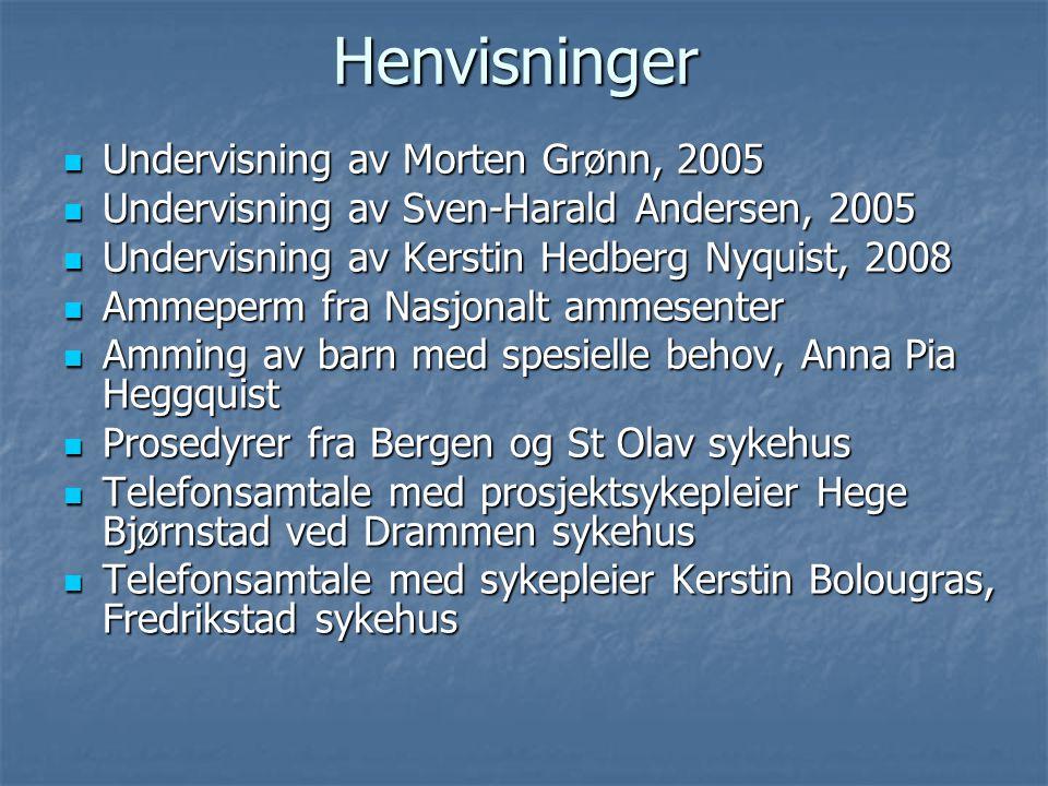  Undervisning av Morten Grønn, 2005  Undervisning av Sven-Harald Andersen, 2005  Undervisning av Kerstin Hedberg Nyquist, 2008  Ammeperm fra Nasjo