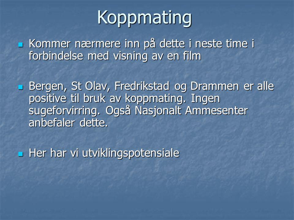  Kommer nærmere inn på dette i neste time i forbindelse med visning av en film  Bergen, St Olav, Fredrikstad og Drammen er alle positive til bruk av