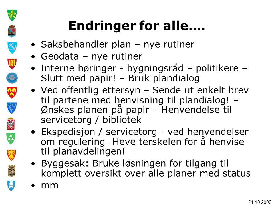 21.10.2008 Endringer for alle…. •Saksbehandler plan – nye rutiner •Geodata – nye rutiner •Interne høringer - bygningsråd – politikere – Slutt med papi