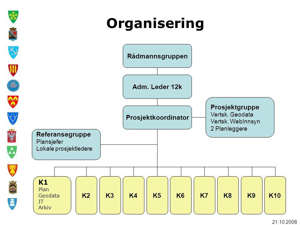 21.10.2008 Rådmannsgruppen K1 Plan Geodata IT Arkiv K2K3K4K5K6K7K8K9K10 Adm. Leder 12k Prosjektkoordinator Prosjektgruppe Vertsk. Geodata Vertsk. WebI