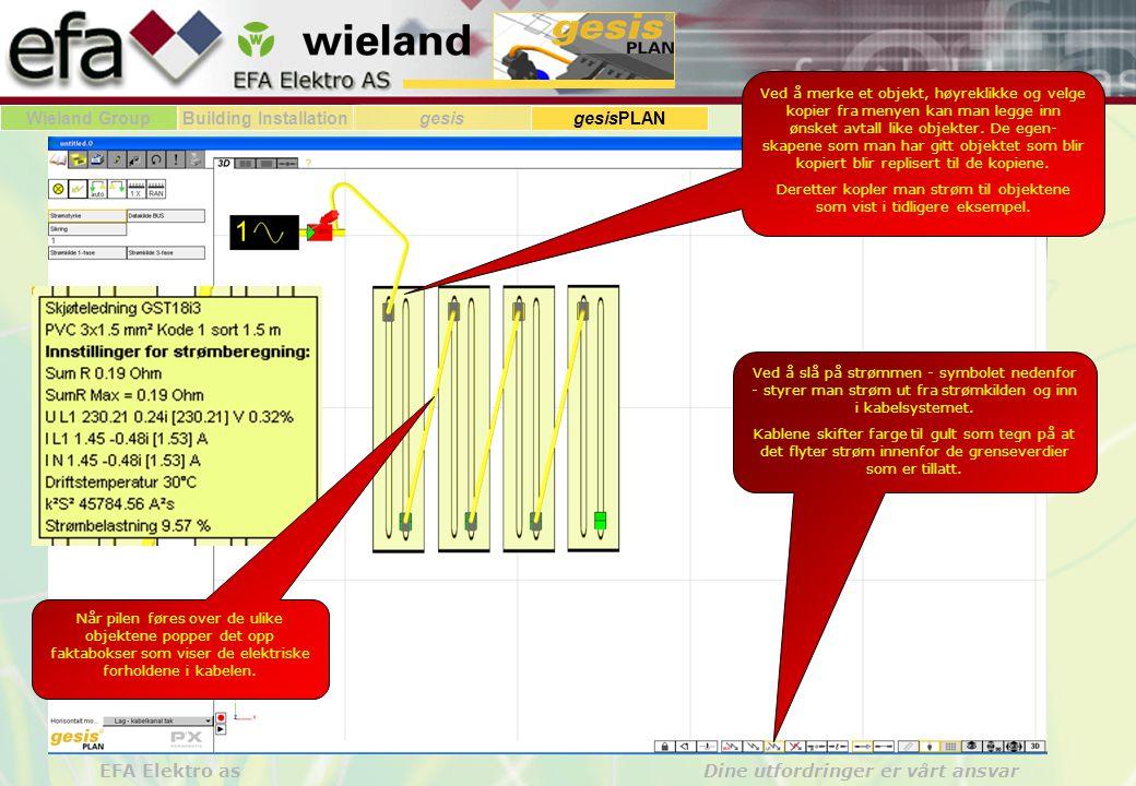 Wieland GroupBuilding Installationgesis gesisPLAN EFA Elektro as Dine utfordringer er vårt ansvar Vi ser her eksempler på installasjon med flatkabel og installasjon med rundkabel.