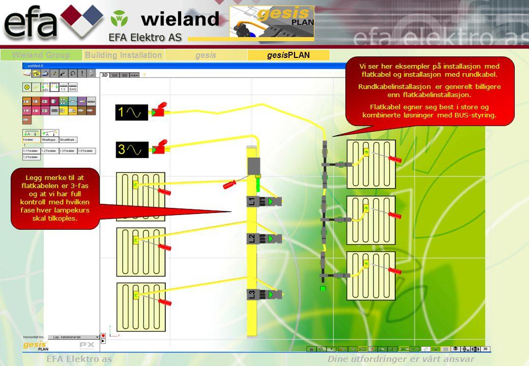 Wieland GroupBuilding Installationgesis gesisPLAN EFA Elektro as Dine utfordringer er vårt ansvar Vi ser her eksempler på installasjon med flatkabel o