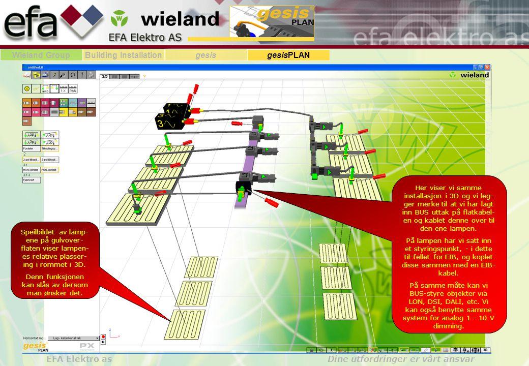 Wieland GroupBuilding Installationgesis gesisPLAN EFA Elektro as Dine utfordringer er vårt ansvar Her ser vi hvordan et 5-pol adapter påsatt flatkabel, tilkoples en fordeler av typen 5 inn til 5 ut med 2 faseuttak for hver av L1, L2 og L2 (TN-nett - 230/400V) I dette tilfeller er 2 lamper tilkoplet fase L1, 2 lamper er tilkoplet fase L2 og 2 lamper er tilkoplet fase L3.