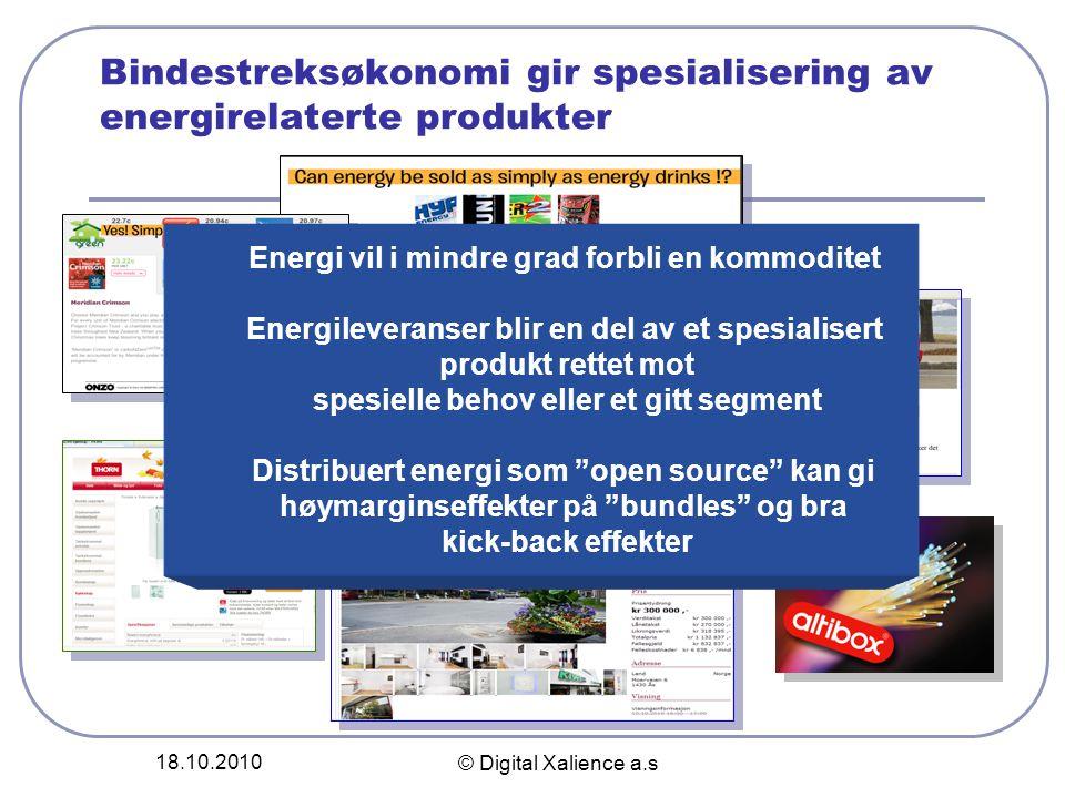 18.10.2010 © Digital Xalience a.s Bindestreksøkonomi gir spesialisering av energirelaterte produkter Energi vil i mindre grad forbli en kommoditet Ene