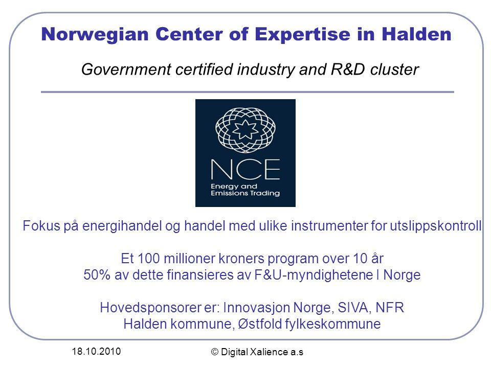 18.10.2010 © Digital Xalience a.s Norwegian Center of Expertise in Halden Fokus på energihandel og handel med ulike instrumenter for utslippskontroll