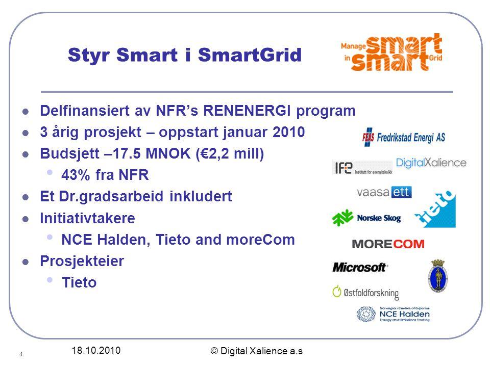 18.10.2010 © Digital Xalience a.s Styr Smart i SmartGrid  Delfinansiert av NFR's RENENERGI program  3 årig prosjekt – oppstart januar 2010  Budsjet