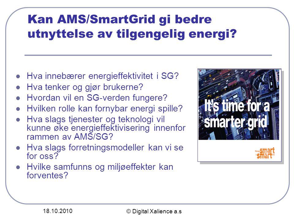 18.10.2010 © Digital Xalience a.s Kan AMS/SmartGrid gi bedre utnyttelse av tilgengelig energi?  Hva innebærer energieffektivitet i SG?  Hva tenker o