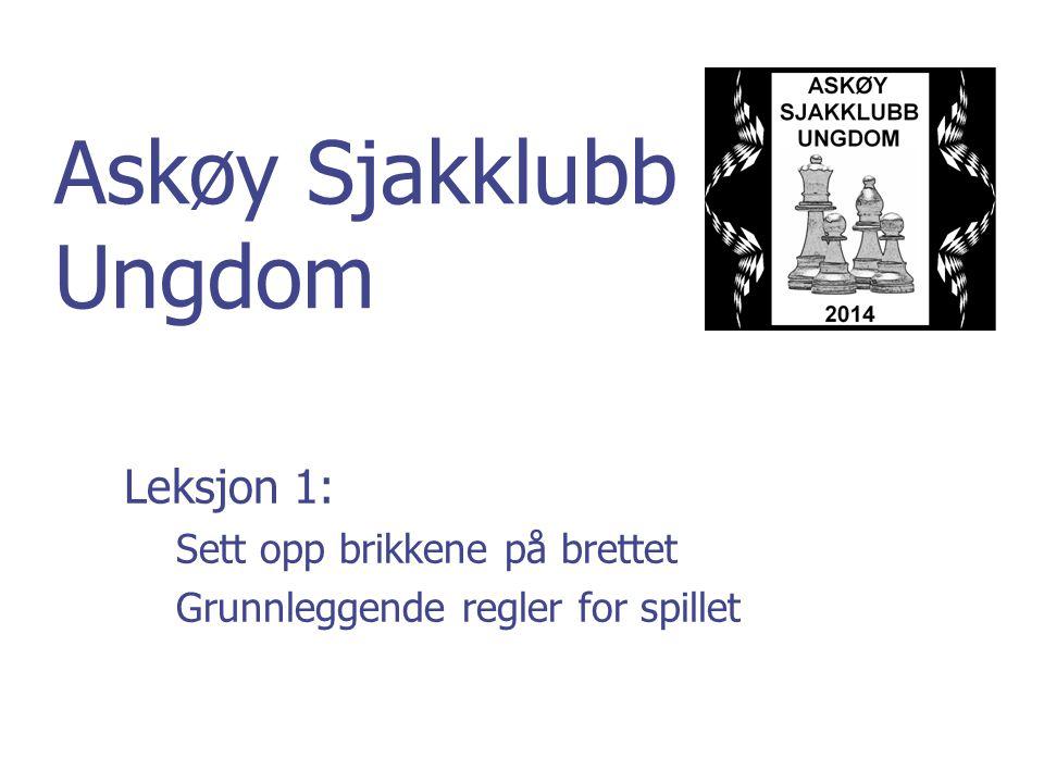 Askøy Sjakklubb Ungdom Leksjon 1: Sett opp brikkene på brettet Grunnleggende regler for spillet
