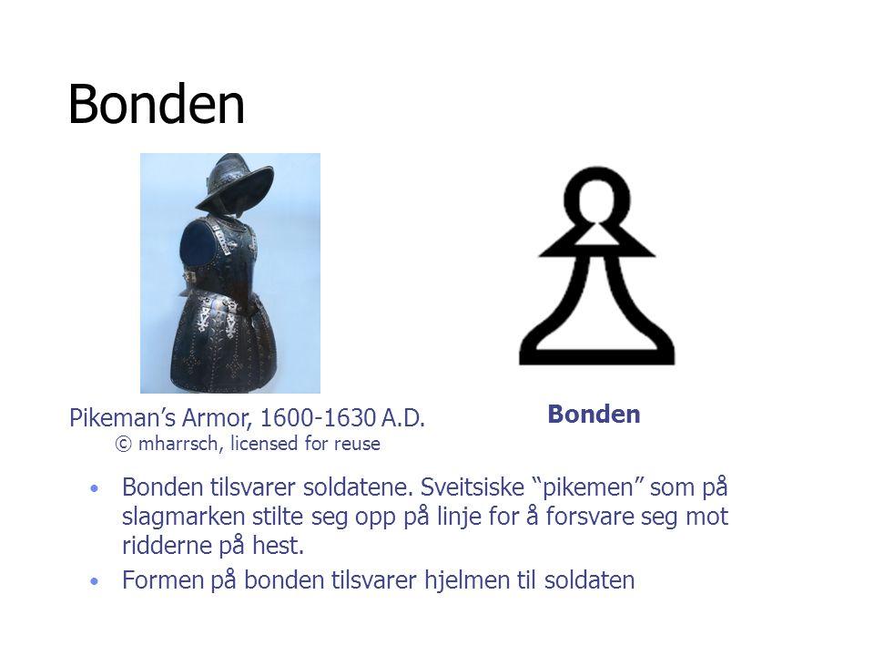 """Bonden • Bonden tilsvarer soldatene. Sveitsiske """"pikemen"""" som på slagmarken stilte seg opp på linje for å forsvare seg mot ridderne på hest. • Formen"""