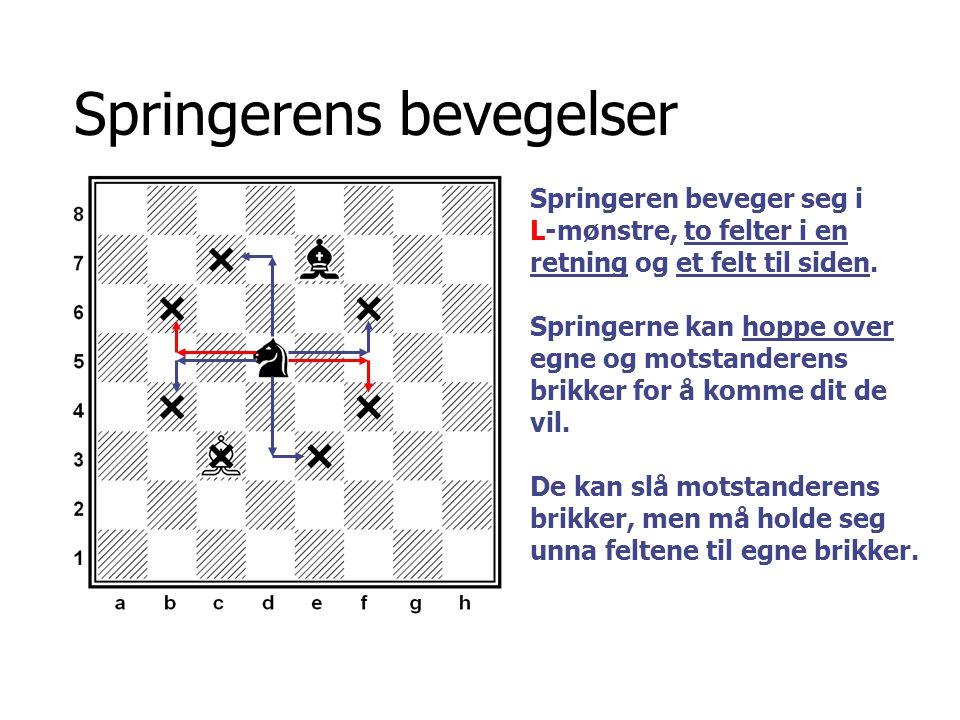 Springerens bevegelser Springeren beveger seg i L-mønstre, to felter i en retning og et felt til siden. Springerne kan hoppe over egne og motstanderen