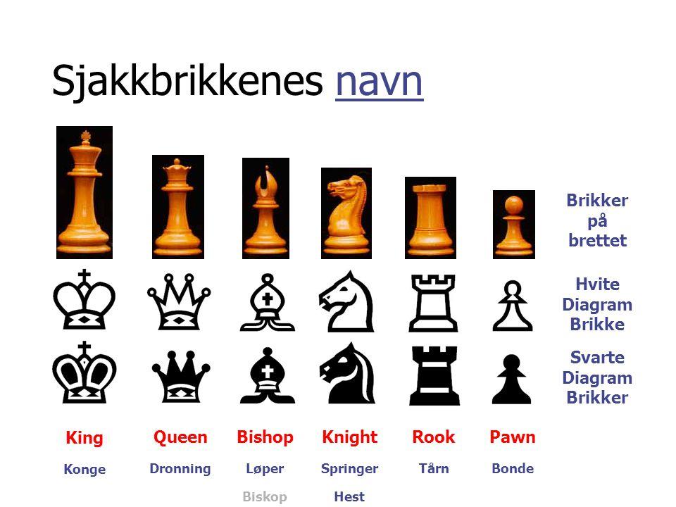 Sjakkbrikkenes navn Brikker på brettet Hvite Diagram Brikke Svarte Diagram Brikker King QueenBishopKnightRookPawn Konge DronningLøperSpringerTårnBonde