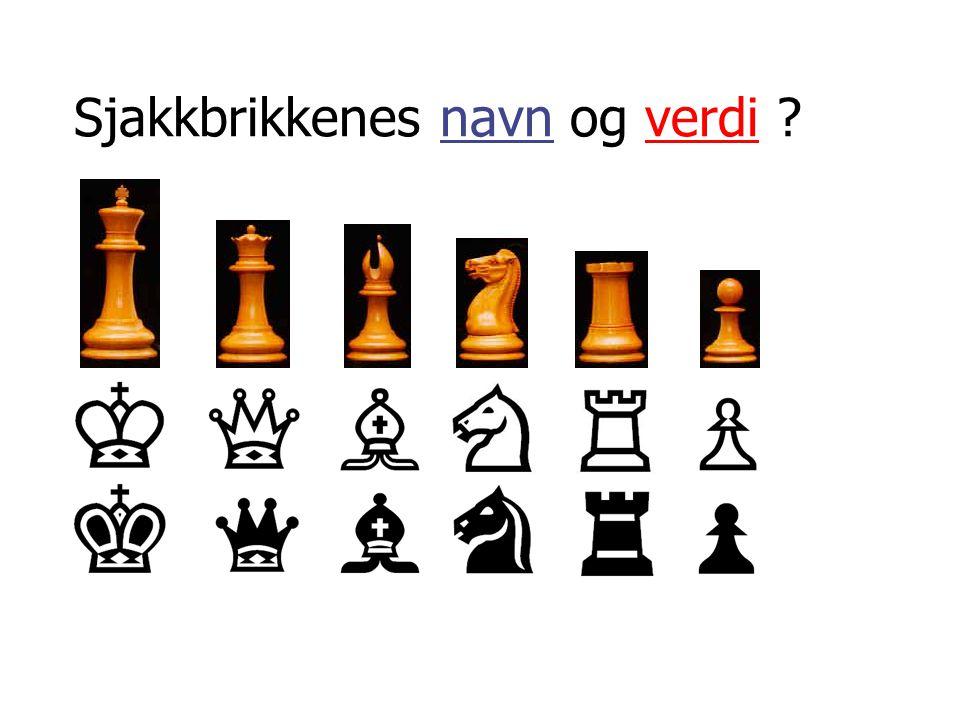 Sette opp brikkene på brettet • Hvit hjørne til høyre • Dronningen på sin farge (d-kolonnen) • Løperne ved siden av kongen og dronningen • Springerne ved siden løperne • Tårnene i hjørnene • Bøndene står foran offiserene