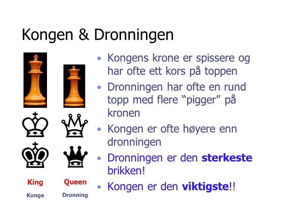 """Kongen & Dronningen King Queen • Kongens krone er spissere og har ofte ett kors på toppen • Dronningen har ofte en rund topp med flere """"pigger"""" på kro"""