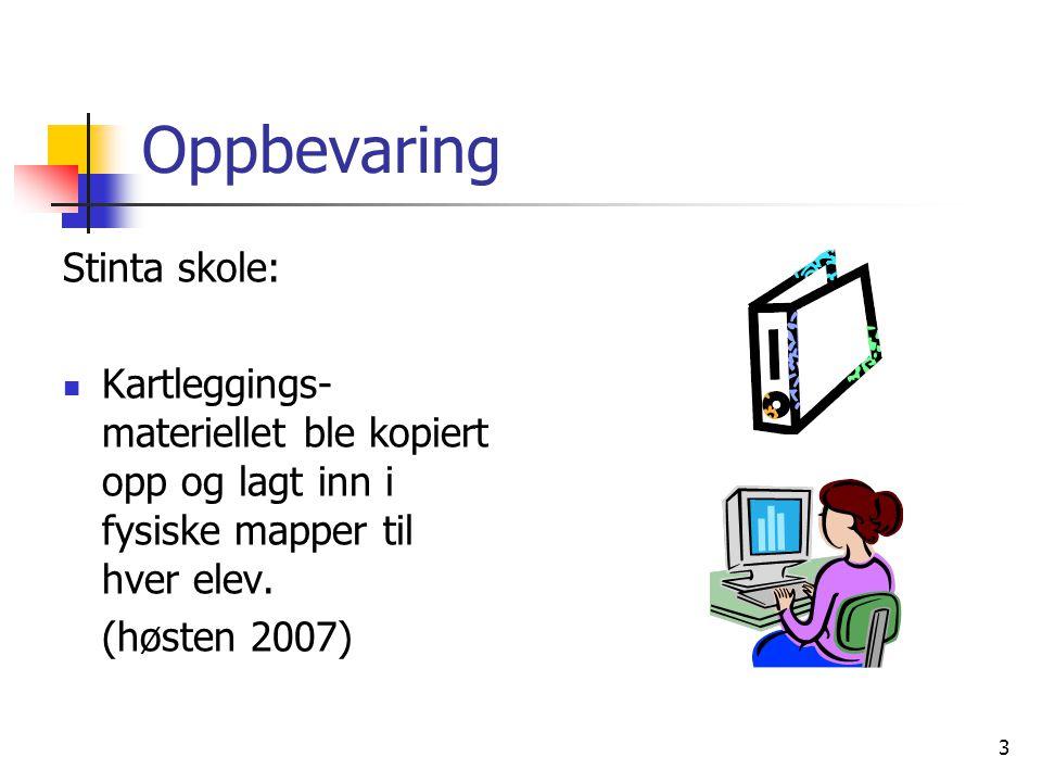 3 Oppbevaring Stinta skole:  Kartleggings- materiellet ble kopiert opp og lagt inn i fysiske mapper til hver elev. (høsten 2007)