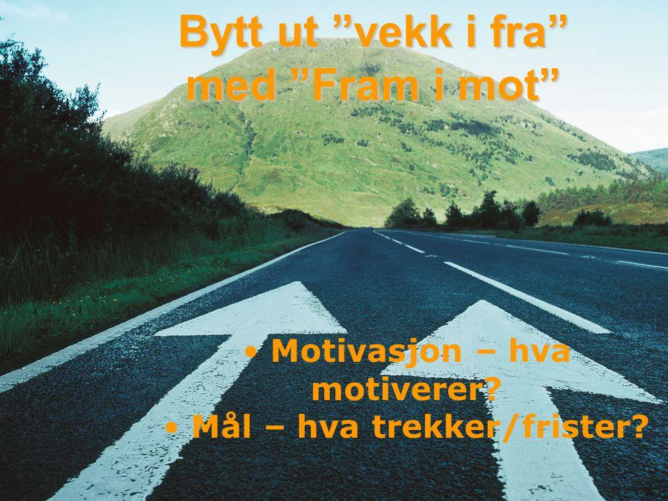 """© Anne Grethe Brandtzæg Bytt ut """"vekk i fra"""" med """"Fram i mot"""" • Motivasjon – hva motiverer? • Mål – hva trekker/frister?"""