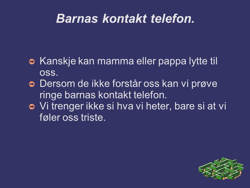 Barnas kontakt telefon. ➲ Kanskje kan mamma eller pappa lytte til oss. ➲ Dersom de ikke forstår oss kan vi prøve ringe barnas kontakt telefon. ➲ Vi tr