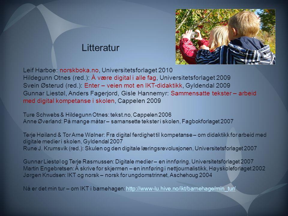 Leif Harboe: norskboka.no, Universitetsforlaget 2010 Hildegunn Otnes (red.): Å være digital i alle fag, Universitetsforlaget 2009 Svein Østerud (red.)