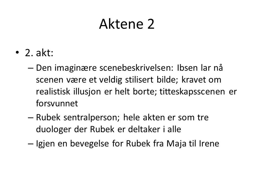 Aktene 2 • 2. akt: – Den imaginære scenebeskrivelsen: Ibsen lar nå scenen være et veldig stilisert bilde; kravet om realistisk illusjon er helt borte;