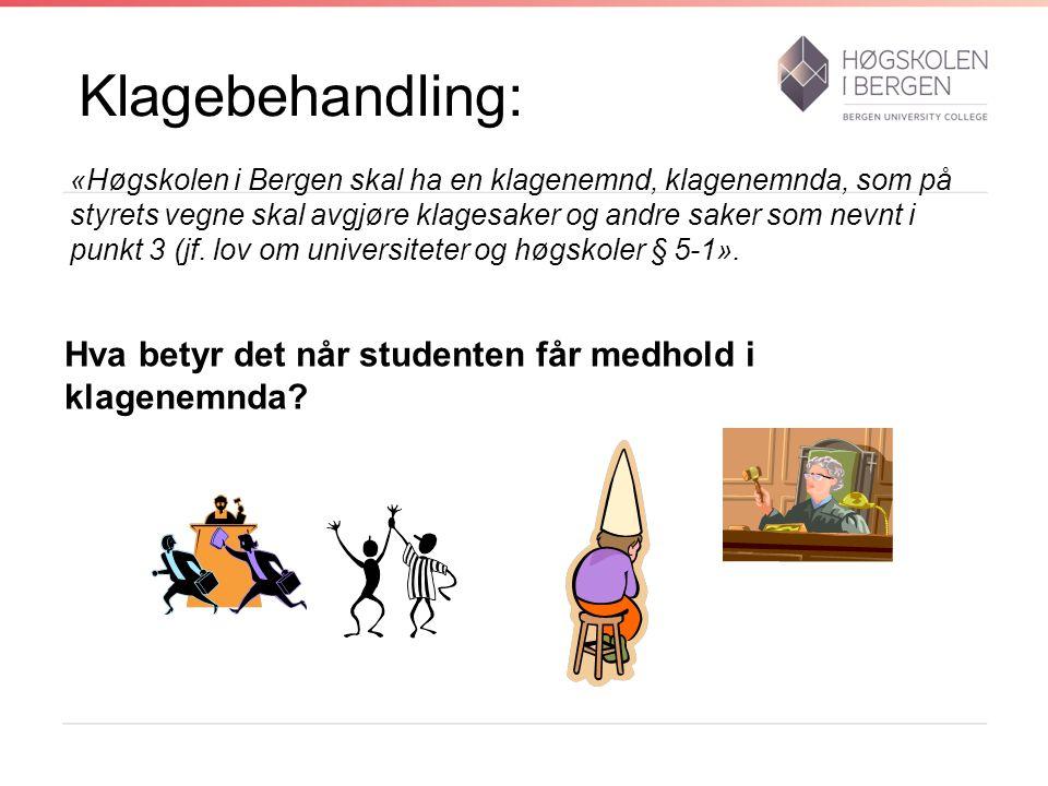 Klagebehandling: «Høgskolen i Bergen skal ha en klagenemnd, klagenemnda, som på styrets vegne skal avgjøre klagesaker og andre saker som nevnt i punkt