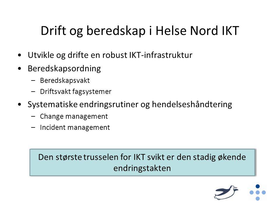 Drift og beredskap i Helse Nord IKT •Utvikle og drifte en robust IKT-infrastruktur •Beredskapsordning –Beredskapsvakt –Driftsvakt fagsystemer •Systema