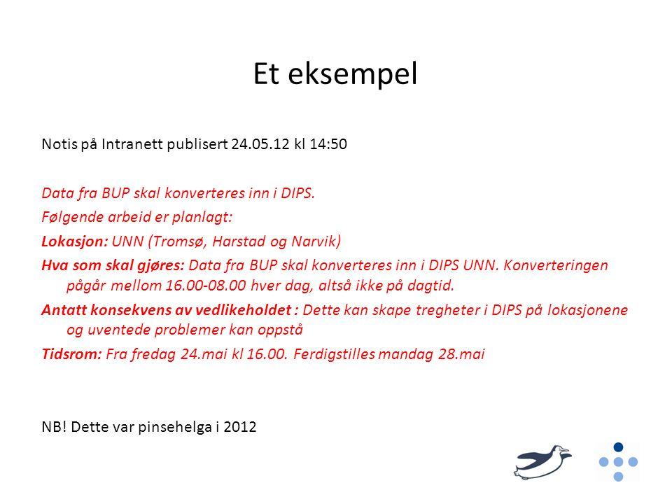 Et eksempel Notis på Intranett publisert 24.05.12 kl 14:50 Data fra BUP skal konverteres inn i DIPS. Følgende arbeid er planlagt: Lokasjon: UNN (Troms