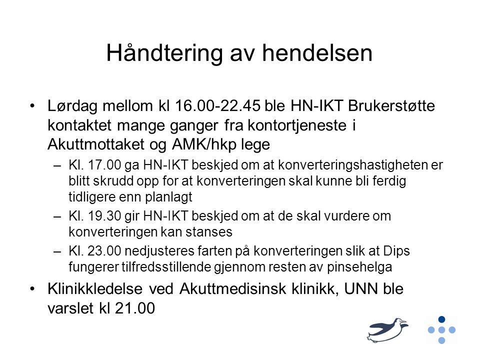 Håndtering av hendelsen •Lørdag mellom kl 16.00-22.45 ble HN-IKT Brukerstøtte kontaktet mange ganger fra kontortjeneste i Akuttmottaket og AMK/hkp leg