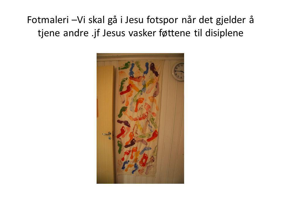 Fotmaleri –Vi skal gå i Jesu fotspor når det gjelder å tjene andre.jf Jesus vasker føttene til disiplene