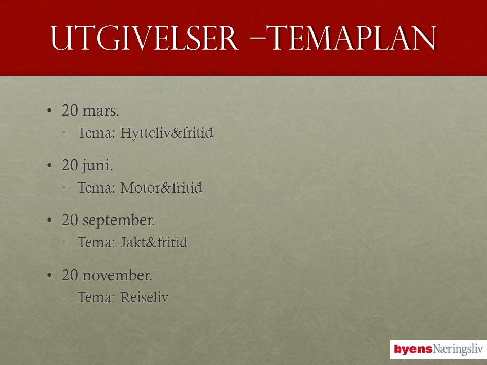 UTGIVELSEr –Temaplan •20 mars. •Tema: Hytteliv&fritid •20 juni. •Tema: Motor&fritid •20 september. •Tema: Jakt&fritid •20 november. •Tema: Reiseliv