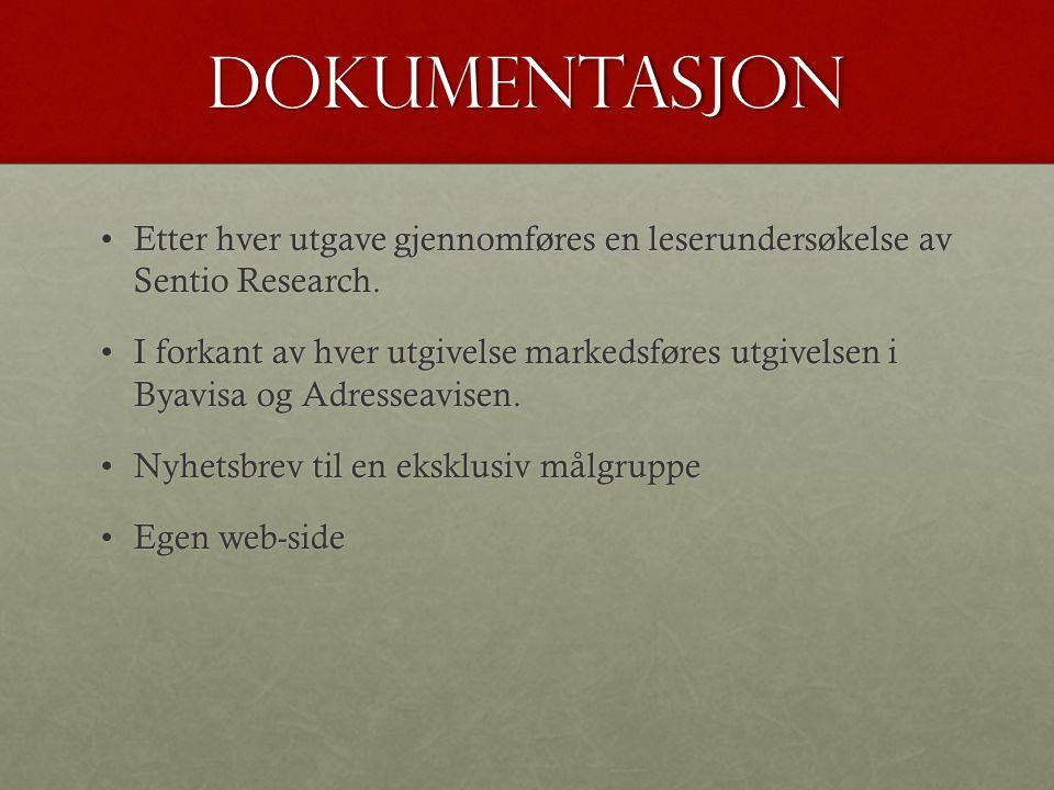 Dokumentasjon •Etter hver utgave gjennomføres en leserundersøkelse av Sentio Research. •I forkant av hver utgivelse markedsføres utgivelsen i Byavisa
