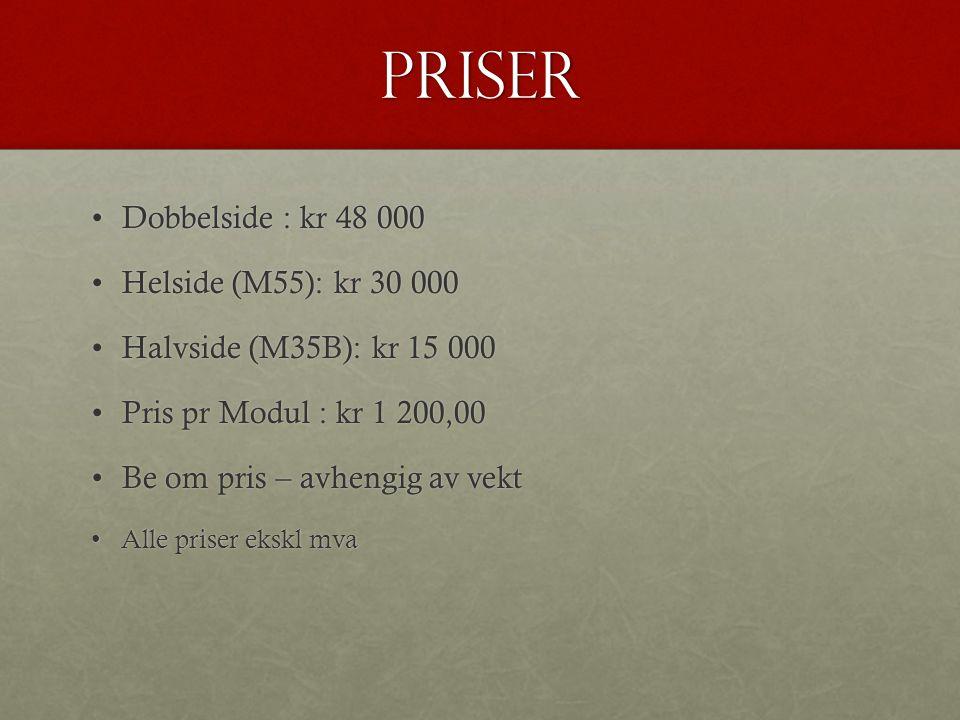 PRISER •Dobbelside : kr 48 000 •Helside (M55): kr 30 000 •Halvside (M35B): kr 15 000 •Pris pr Modul : kr 1 200,00 •Be om pris – avhengig av vekt •Alle priser ekskl mva
