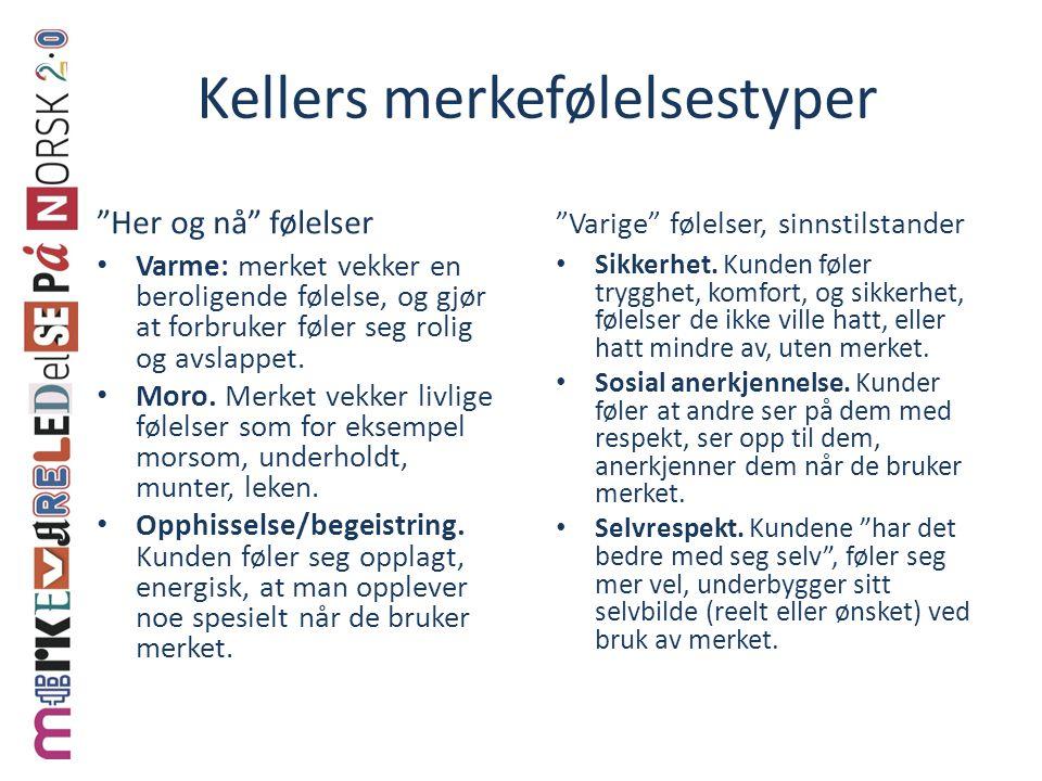 """Kellers merkefølelsestyper """"Her og nå"""" følelser • Varme: merket vekker en beroligende følelse, og gjør at forbruker føler seg rolig og avslappet. • Mo"""
