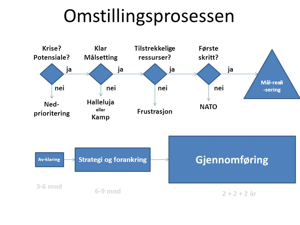 Omstillingsprosessen Ned- prioritering Halleluja eller Kamp NATO Frustrasjon Krise.
