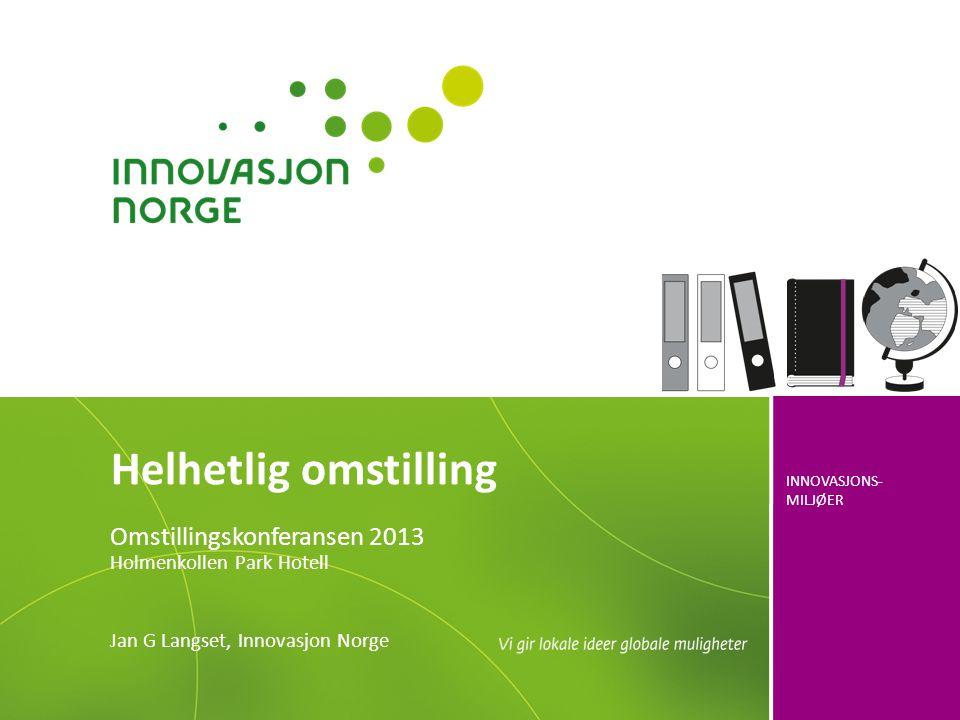 INNOVASJONS- MILJØER Helhetlig omstilling Omstillingskonferansen 2013 Holmenkollen Park Hotell Jan G Langset, Innovasjon Norge