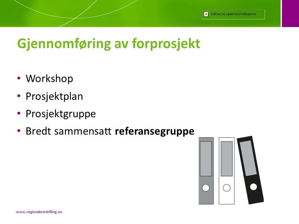 Gjennomføring av forprosjekt www.regionalomstilling.no • Workshop • Prosjektplan • Prosjektgruppe • Bredt sammensatt referansegruppe