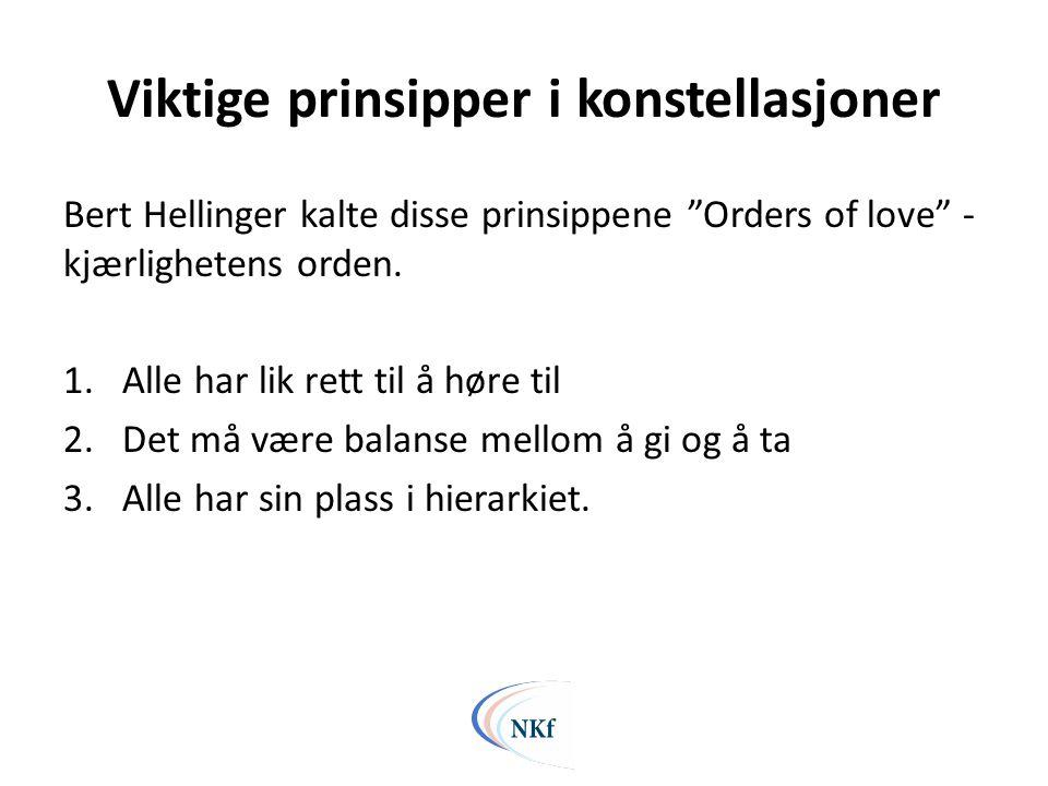 """Viktige prinsipper i konstellasjoner Bert Hellinger kalte disse prinsippene """"Orders of love"""" - kjærlighetens orden. 1.Alle har lik rett til å høre til"""