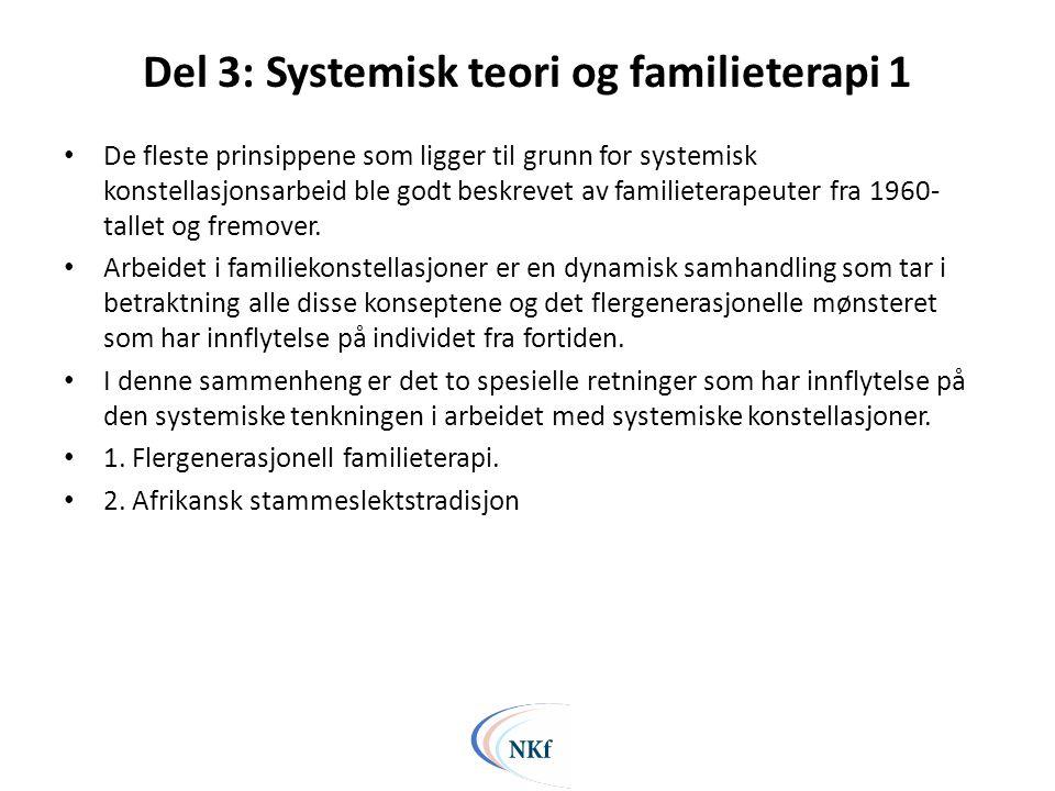 Del 3: Systemisk teori og familieterapi 1 • De fleste prinsippene som ligger til grunn for systemisk konstellasjonsarbeid ble godt beskrevet av familieterapeuter fra 1960- tallet og fremover.