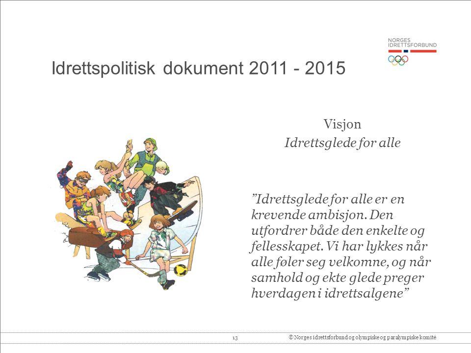 "13© Norges idrettsforbund og olympiske og paralympiske komité Idrettspolitisk dokument 2011 - 2015 Visjon Idrettsglede for alle ""Idrettsglede for alle"