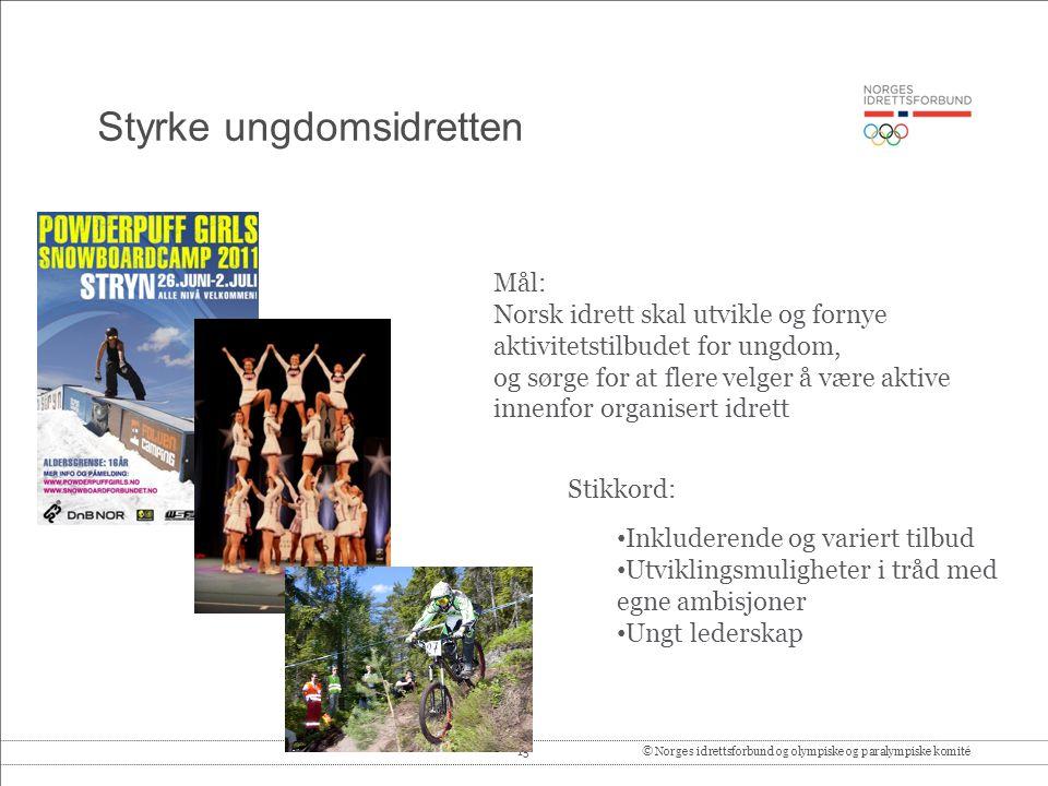 15© Norges idrettsforbund og olympiske og paralympiske komité Styrke ungdomsidretten Mål: Norsk idrett skal utvikle og fornye aktivitetstilbudet for u
