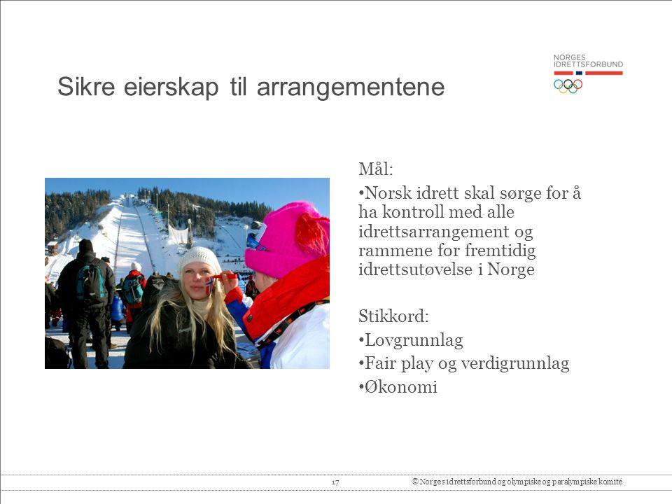 17© Norges idrettsforbund og olympiske og paralympiske komité Sikre eierskap til arrangementene Mål: • Norsk idrett skal sørge for å ha kontroll med a