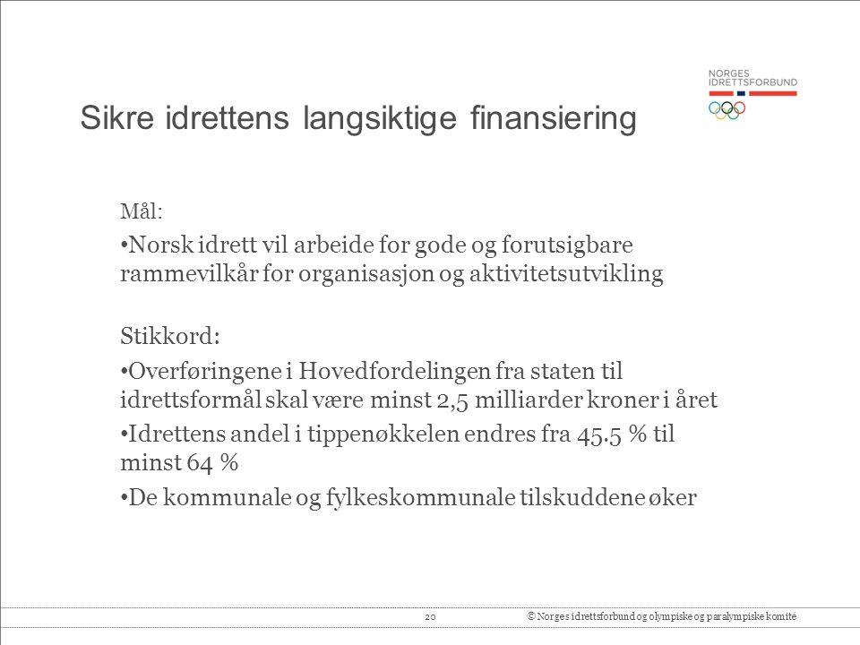 20© Norges idrettsforbund og olympiske og paralympiske komité Sikre idrettens langsiktige finansiering Mål: • Norsk idrett vil arbeide for gode og for
