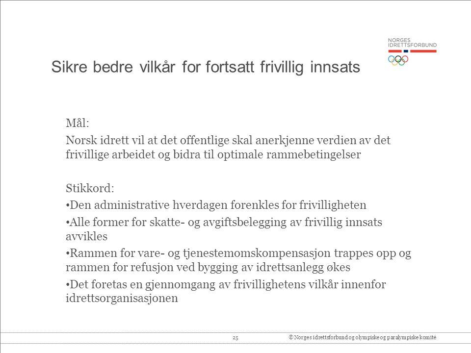 25© Norges idrettsforbund og olympiske og paralympiske komité Sikre bedre vilkår for fortsatt frivillig innsats Mål: Norsk idrett vil at det offentlig