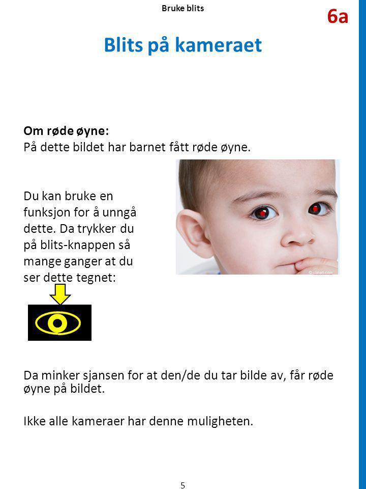 Blits på kameraet Om røde øyne: På dette bildet har barnet fått røde øyne.