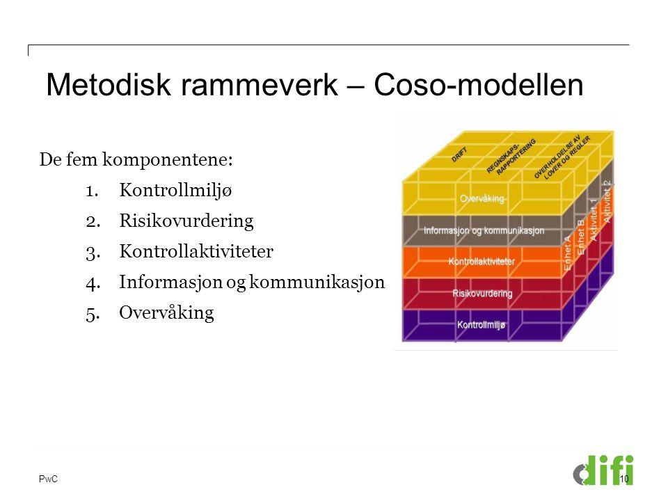 PwC Metodisk rammeverk – Coso-modellen 10 De fem komponentene: 1.Kontrollmiljø 2.Risikovurdering 3.Kontrollaktiviteter 4.Informasjon og kommunikasjon
